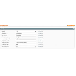 Magento Google Adword Conversion Tracking Admin Configuration