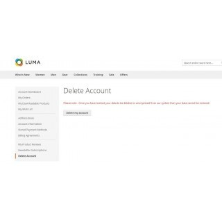 Delete Personal Data page frontend